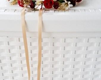 Vineyard Wedding Hair accessories Flower Crown Wine burgundy marsala Bridal party dried silk floral garland accessories flower girl halo