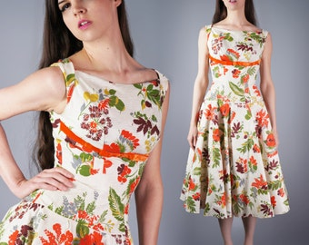 Floral Print Dress Spectacular Garden Party Dress New With Tags 50s Full Skirt Immaculate