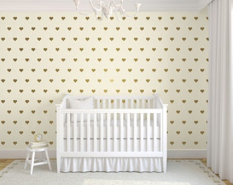 ON SALE Gold Heart Wall Decals, Heart Wall Stickers, Gold Wall Decals, Heart Stickers, Nursery Wall Decals, Childrens Wall Decals