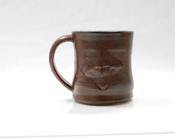 Mug Ceramic, Autumn Copper Brown 14 oz Large