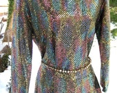 larger GOLD SMASH GLIMMER multi color sequin blouse, larger sized New Wave Mod 1980s 80s shirt of gold lame long sleeved