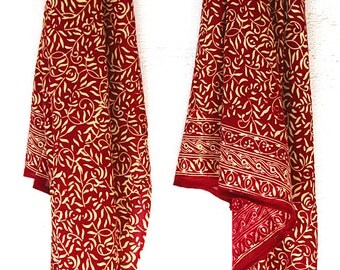 Red Chiffon Batik Scarf - Women's Fashion Accessory - Soft Scarlet Scarf or Sarong - Cherry Red Scarf or Beach Sarong