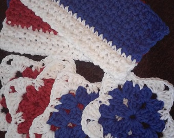 Coaster Set / Dish Cloth / Facial Cloth / Coasters / USA / Patriotic Decor / July 4th Decor /