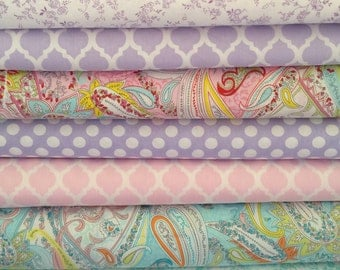 Beautiful Sewing for Children Home Decor Fabrics Mix Match Colors Pink Lavender Aqua