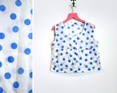 Vintage 1980s Cotton Blue and White Polka Dot Crop Top Size M