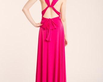 Pink Bridesmaid Dress, Long Fuchsia Dress, Hot Pink maxi dress, Pink Infinity Gown, Party dress, Fuchsia Dress, Pink Infinity Dress