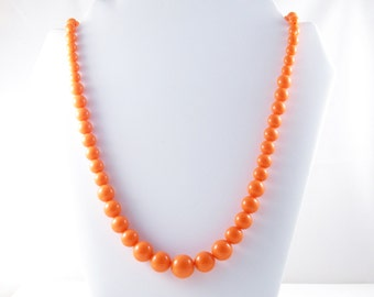 Vintage Long Orange Acrylic Graduated Bead Necklace (N-3-3)