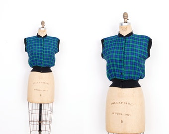 Vintage 1950s Top / 50s Plaid Cotton Blouse / Blue Green Black (small S)