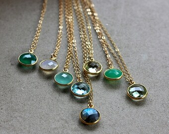 Gemstone Pendant Necklace - 14K Goldfilled