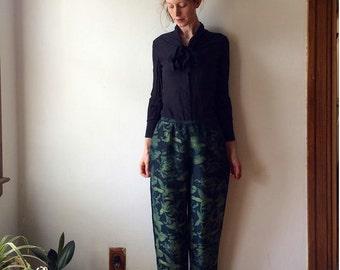 Black Silk Plant Pants Handprinted One of a Kind botanical print natural