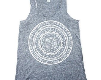 womens boho tank top, mandala tank top, mandala shirt, womens flower, heather grey  tank top
