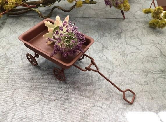 Mini Rusty Metal Wagon, Fairy Garden Accessory, Garden Decor, Miniature Gardening