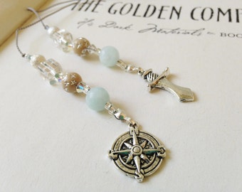 Golden Compass Inspired Bookmark - Young Adult Fiction Jeweled Beaded Book Thong Ice Blue, Clear, Tan with Silver Compass and Dagger Charms