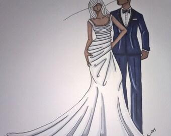 custom wedding gown and tuxedo sketch
