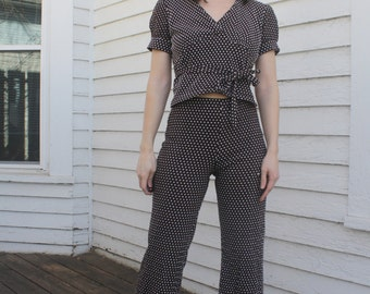 70s Polka Dot Blouse Retro 1970s Brown Vintage XS Petite Crop Top