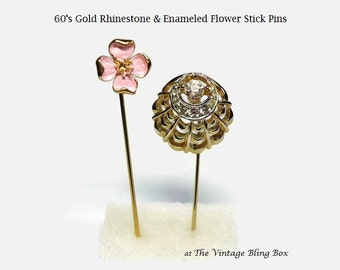 60s Gold Rhinestone & Enamel Stick Pins in Dogwood Flower and Crystal Filigree Motif, Set of 2 - Vintage 60's Costume Jewelry