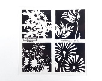 CTMH B1033 Blossom Blocks Close To My Heart flower square stamps nature garden silhouette Clear Acrylic Stamp Set Retired Unmounted USED