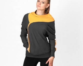 Drapey sweatshirt with geometric collar, Womens gray sweater