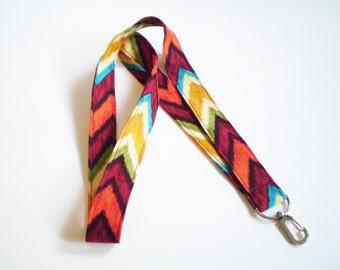 Colorful Boho Lanyard, Colorful Chevron Lanyard, Colorful Fabric Lanyard, Boho ID Badge Holder, Boho Key Lanyard