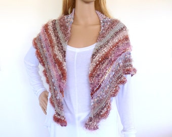 Pink knit shawl Colorful Knit Cape Triangle knit Shawl Hand knitted wrap Pink Shawl
