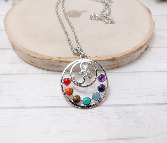 Om Chakra Necklace - Seven Chakra Necklace - Gemstone Necklace
