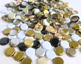Beer Bottle Caps Lot Craft Bulk 200+ Unprinted Gold, Silver, Black and White Assorted Mixed Pieces Used