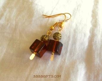 Brown Earrings Cube Earrings Drop Earrings Dangle Earrings Gold Earrings Surgical Steel French Hooks Option