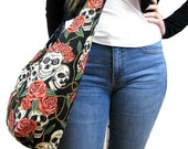 SKULL BAG - Crossbody Hobo Bag - Gypsy Bag - Sling Bag - Skull and Roses - Goth Bag - Hobo Bag - Vegan Purse - Hippie Bag - Hippy Bag
