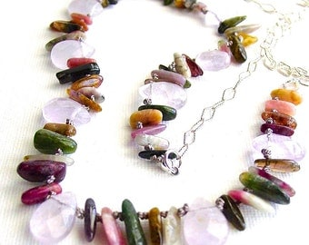 Tourmaline and Rose Quartz Necklace Sterling Silver Chain