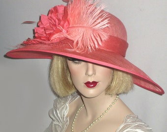 CLASSIC CORAL Kentucky Derby Hat, Salmon Wide Brim Derby Hat, Coral Sinamay Downton Abbey Hat, Garden Party Hat, High Tea Sinamay Hat