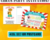 CIRCUS Invitation // Circus Birthday Invitation // Circus Party // Birthday Party // DIGITAL file // Custom Printable Invitation