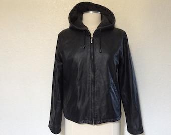 Vintage Reversible Black Leather Hoodie Jacket Sweathirt Style Hooded