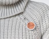 Wood circular brooch with deer carving 28mm · crochet & wood · Polar blue · Eco-Friendly