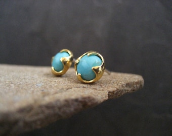 Turquoise studs, American turquoise, blue gemstone, genuine turquoise, turquoise posts, gold studs