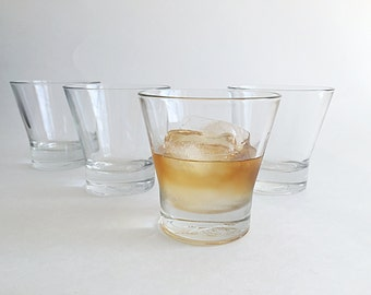 4 Vintage Bar Glasses Whiskey Glasses Crown Royal Tapered Rocks Glasses Low Ball Glasses Tumblers Vintage Glass Barware
