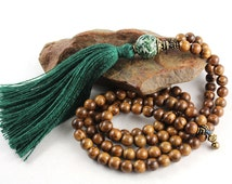 Rosewood Mala Beads, Tree Agate Mala, Gemstone Mala, Tassel Necklace, Meditation Beads, Prayer Beads, Mens Mala, Mala Necklace, Yoga Jewelry