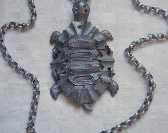 L. Razza Silver Articulated Turtle Pendant Necklace