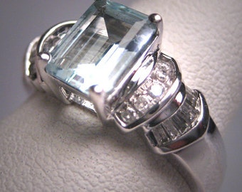 Vintage Aquamarine Diamond Wedding Ring Art Deco White Gold Engagement