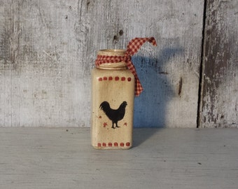 Primitive Country Bottle,Primitive Rooster and Star,Country Rooster,Primitive Decor,Painted Bottle,Country Decor,Farmhouse decor