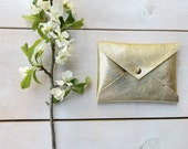 Gold Leather card holder ,credit card holder, Envelope wallet, slim card holder, Leather card case, ID Wallet