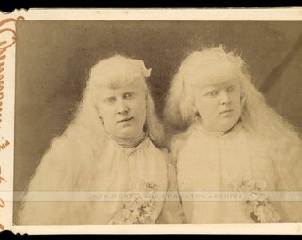 1880s Cabinet Card of Mind Reading Albino Sisters