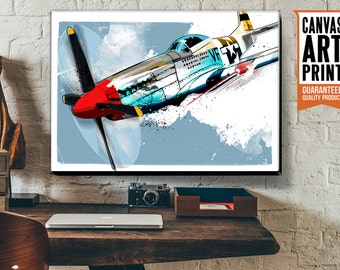 P-51 MUSTANG, WWII, military, fighter plane, airplane, decor, Canvas art print, available in 18x24 or 24x36.