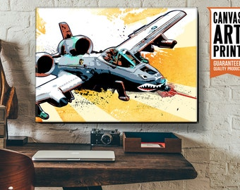Military Airplane decor, Canvas art print, of an A-10 Thunderbolt II Warthog fighter plane, Available in 18x24 or 24x36.