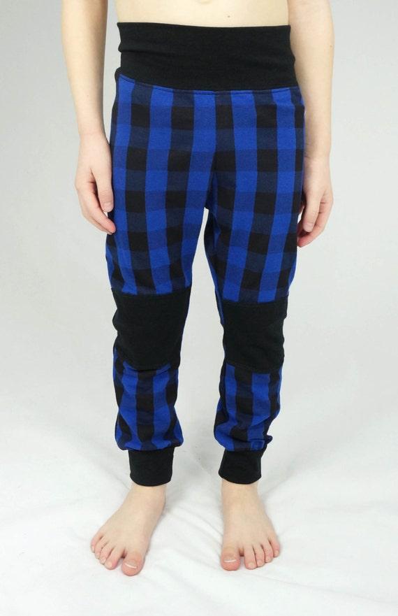 Toddler leggings, kids blue plaid leggings, toddler clothes, boy girl unisex kids clothes, ready to ship