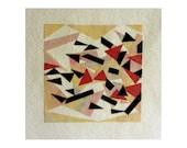 Original abstract art collage, cut-out art, collage art card, paper artwork, FANFARE