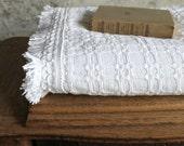 Vintage White Bedspread with Fringe