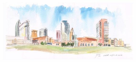 Watercolor painting - Uptown Charlotte Skyline