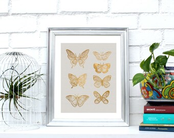 Printable Golden butterflies decor,Pale grey & Gold wall art,poster,Instant Download, minimalist print,4 x 1.Modern deco.Simulated gold foil