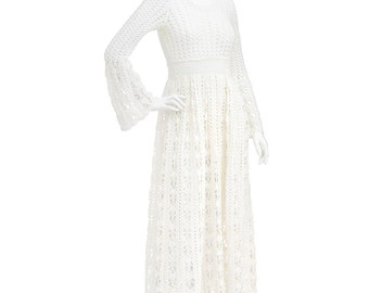 Vintage 70's Ethereal Ivory CROCHET Lace Bell Sleeves Peekaboo Empire Waist Hippie Boho Wedding Party Full Skirt Festival Maxi DRESS