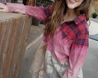 Flannel and Vintage Lace Top Shabby Chic Rodeo Romantic Bohemian Boho Chic Unique